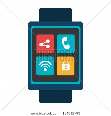 blue  smart watch with blue frame and colorful media icon on the screen over isolated background, vector illustration