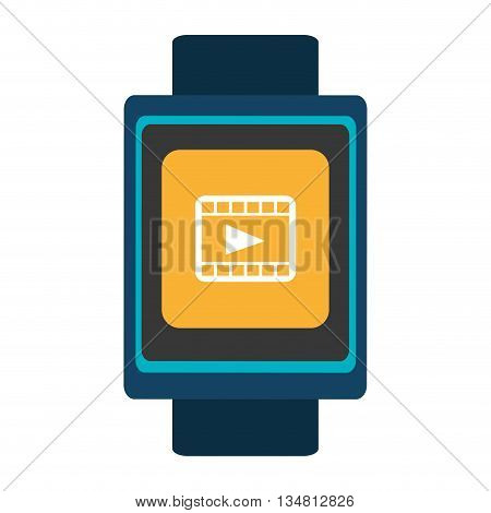 blue  smart watch with blue frame and yellow square white media icon on the screen over isolated background, vector illustration