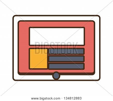 white tablet with colorful stripes and squares on the screen over isolated background, vector illustration