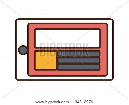 white tablet with colorful squares and stripes over isolated background, vector illustration