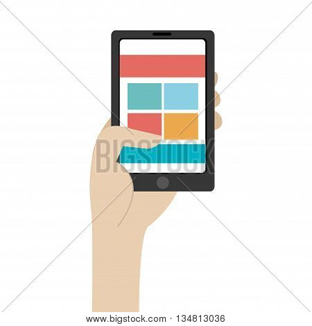 humand hand holding black smartphone with colorful squares and stripes on the screen over isolated background, vector illustration
