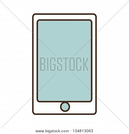 white smartphone with blue screen over isolated background, vector illustration