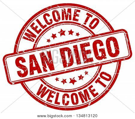 welcome to San Diego stamp. welcome to San Diego.