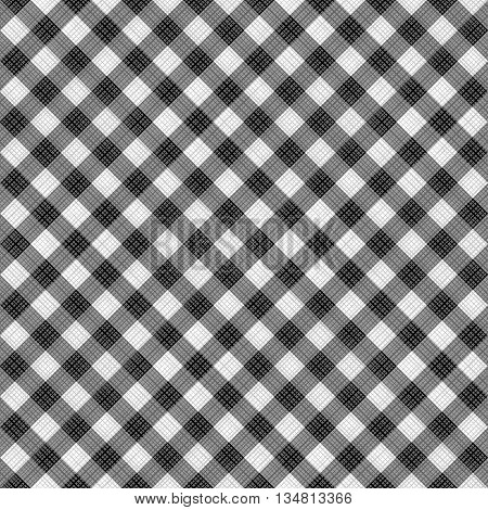 Seamless (you see 4 tiles) black and white diagonal gingham pattern