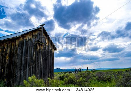 Vintage Barn In Idaho Overlooking Marsh Acreage