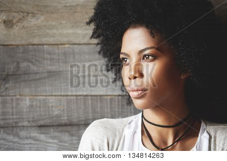 Highly-detailed Portrait Of Pretty African Young Woman With Clean Healthy Skin And Afro Haircut, Loo