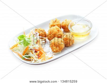Fried chicken nuggets isolated on White background
