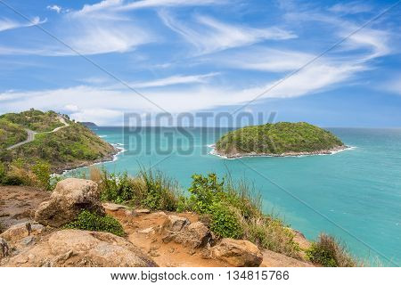 Promthep cape viewpoint at blue sky in PhuketThailand in a bright day