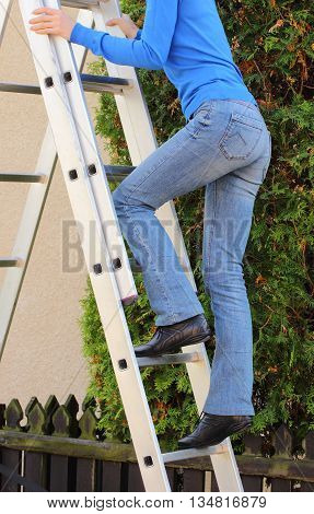 Female Worker Climbing On Ladder In Garden