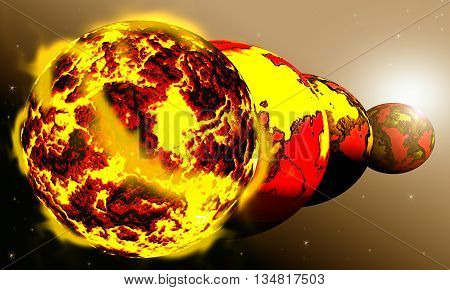 Earth in galaxy hour global warming Illustration.