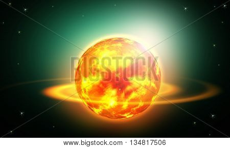 Sun with plasma and heat spots in galaxy.