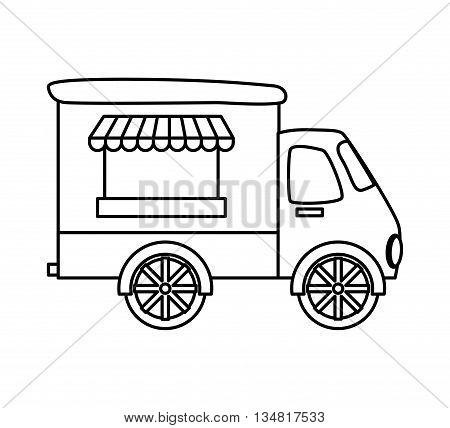 Fast and Street food concept represented by truck,  shop or place of commerce illustration, flat and isolated design