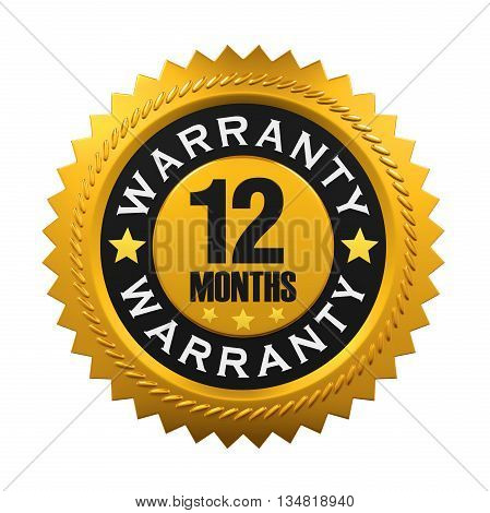 12 Months Warranty Sign isolated on white background. 3D render