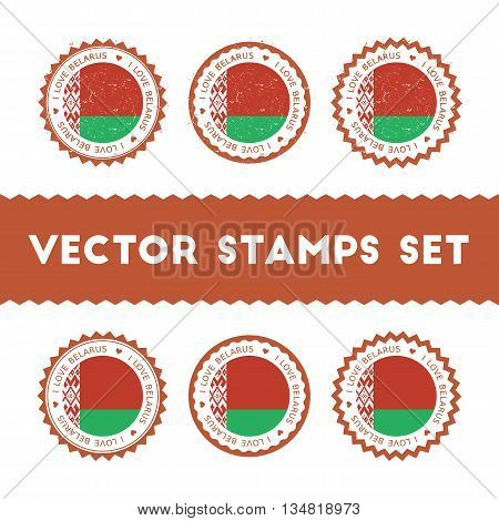 I Love Belarus Vector Stamps Set. Retro Patriotic Country Flag Badges. National Flags Vintage Round