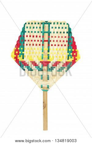 Weave colorful fan isolated on white background