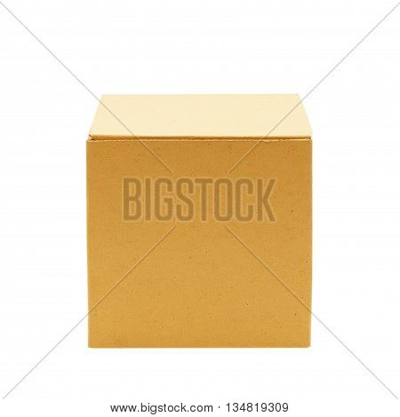 cardboard box isolated on white background, brown cardboard box
