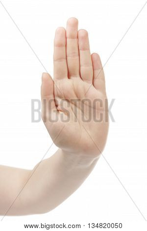 young woman hand show stop hand gesture , isolated on white