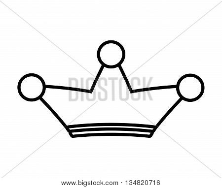 Silhouette of a crown of three points over isolated and flat background