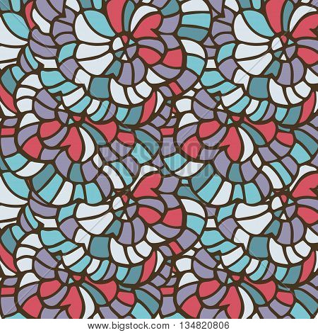 Vector Vivid Seamless Abstract Hand-drawn Pattern With Plants And Flowers. Wave Patterns Seamlessly