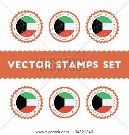 I Love Kuwait Vector Stamps Set. Retro Patriotic Country Flag Badges. National Flags Vintage Round S