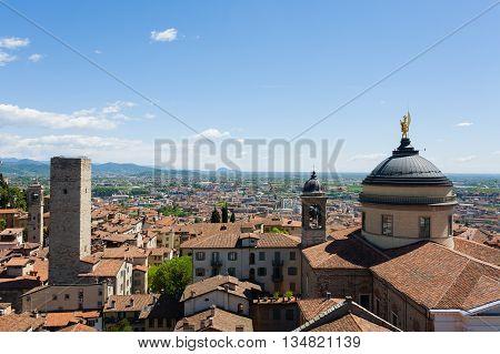 View of Cathedral in Bergamo Lombardy Italy. Saint Mary Major church. Italian panorama