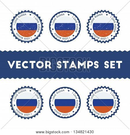 I Love Russian Federation Vector Stamps Set. Retro Patriotic Country Flag Badges. National Flags Vin