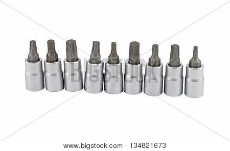 Set of screwdriver heads isolated on white background