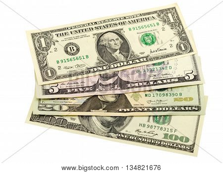 the US Dollar Notes on white background
