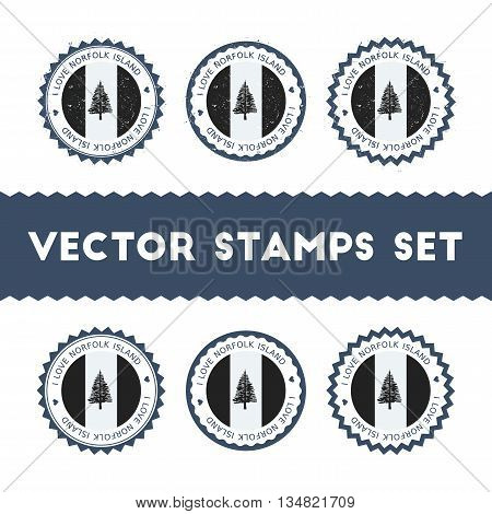 I Love Norfolk Island Vector Stamps Set. Retro Patriotic Country Flag Badges. National Flags Vintage
