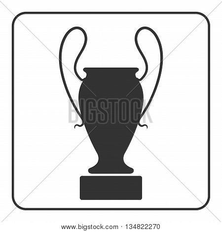 Amphora icon. Antique pottery vase sign with handle. Flat graphic style. Design element. Silhouette in frame isolated on white background. Symbol greek culture Ancient history pot. Vector illustration