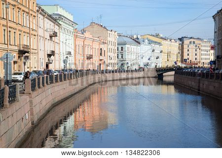 SAINT PETERSBURG, RUSSIA - MARCH 24, 2014: March morning on the Moika river. Historical landmark of the city Saint Petersburg