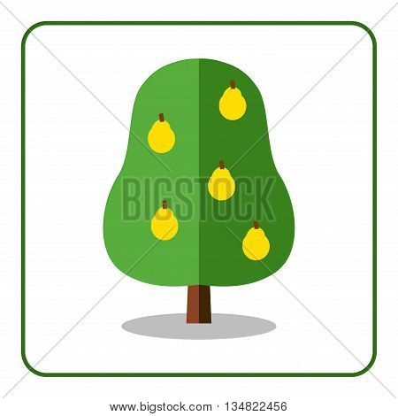 Pear tree icon. Flat sign with fruit. Trendy beautiful floral element isolated on white background. Green silhouette deciduous tree. Symbol of nature garden. Sprites for game. Vector illustration