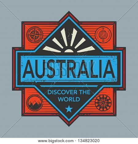 Stamp or vintage emblem with text Australia, Discover the World, vector illustration