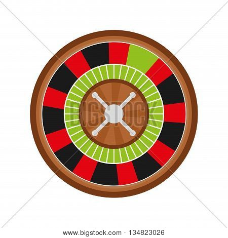 Casino and las vegas represented by roulette over isolated and flat illustration