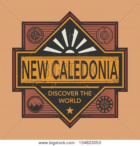 Stamp or vintage emblem with text New Caledonia, Discover the World, vector illustration