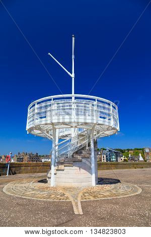 Small sightseeing tower close to the Broughty Castle at Beach Cres Dundee Scotland