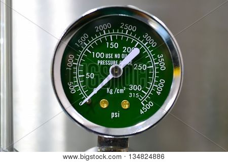 Close up oxygen pressure gauge in hospital