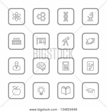 gray line education and science icon set with rounded rectangle frame for web design user interface (UI) infographic and mobile application (apps)