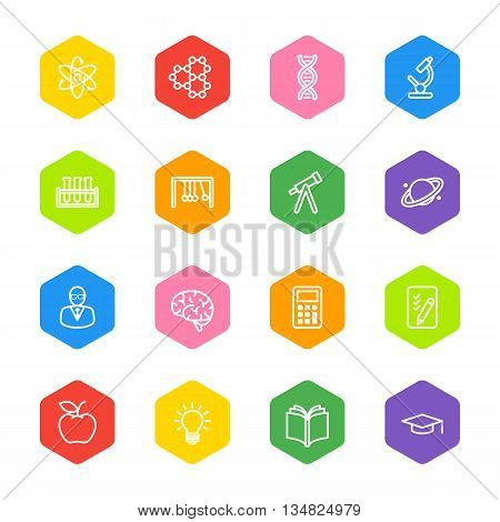 white line education and science icon set on colorful hexagon for web design user interface (UI) infographic and mobile application (apps)