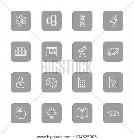 line education and science icon set on gray rounded rectangle for web design user interface (UI) infographic and mobile application (apps)