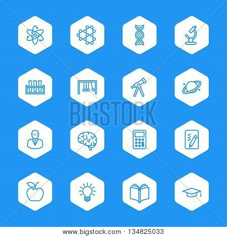 line education and science icon set on white hexagon for web design user interface (UI) infographic and mobile application (apps)