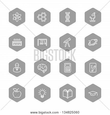 line education and science icon set on gray hexagon for web design user interface (UI) infographic and mobile application (apps)