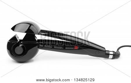 Black electric curling iron isolated on white background