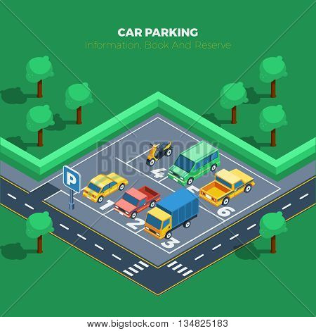 Car Parking Concept. Car Parking Information. Car Parking Poster. Car Parking Isometric Illustration. Car Parking Vector.