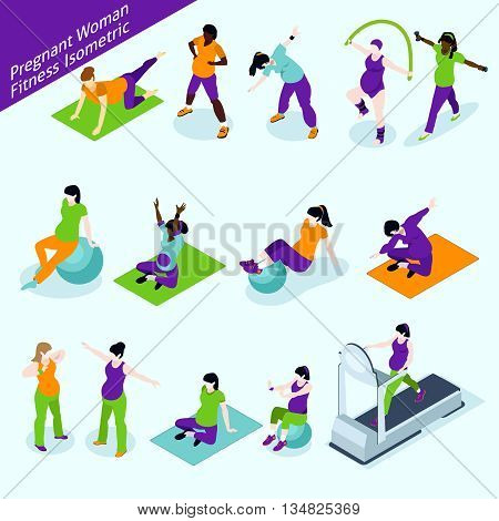 Pregnant Women Fitness Icons Set. Pregnant Women Fitness Vector Illustration. Pregnant Women Fitness Decorative Set.  Pregnant Woman Fitness Design Set. Pregnancy Fitness Isometric Isolated Set.