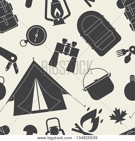 Camping And Hiking Seamless Pattern