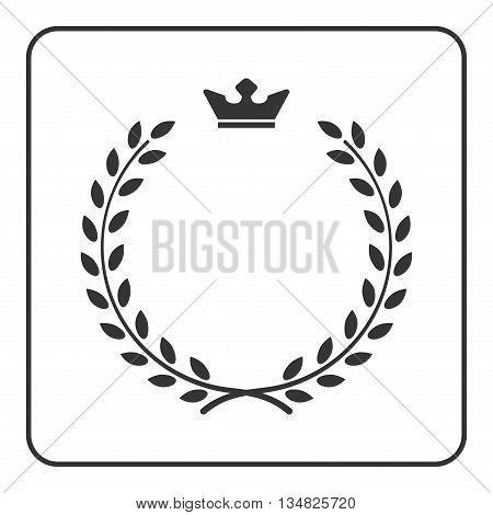 Laurel wreath icon with crown. Symbol of victory and achievement. Design element for medals awards coat of arms or anniversary logo. Gray silhouette isolated on white background. Vector illustration