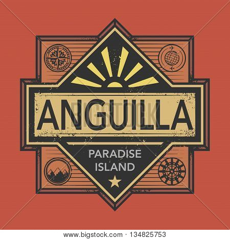 Stamp or vintage emblem with text Anguilla, Discover the World, vector illustration