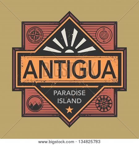 Stamp or vintage emblem with text Antigua, Discover the World, vector illustration
