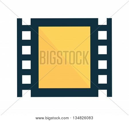 Movie and Cinema represented by classic film reel icon over flat and isolated background